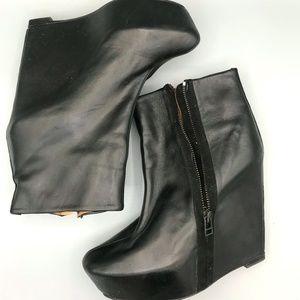 ZARA Leather Black Platform Booties